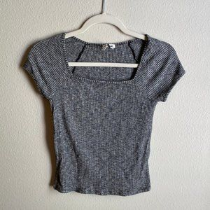 Garage Square Neck Ribbed Baby Tee